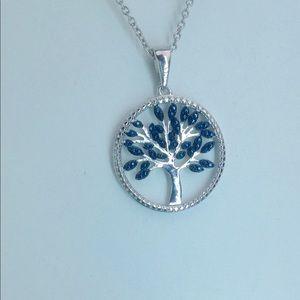 Jewelry - Tree of Life Pendant w/One Blue Diamond Accent Gem